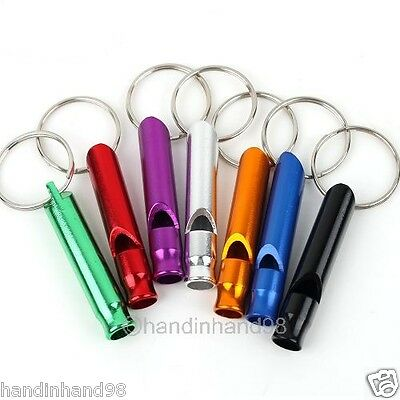 Wholesale 10pcs Mixed Color Aluminum Whistle Key Chain Outdoor Camping Survival