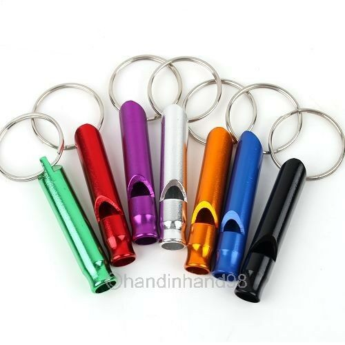 Whoesale Mixed Lots 10pcs Aluminum Survival Whistle Key Chain Camping Use