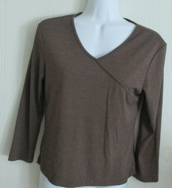 Ann Taylor V Neck Top Extra Small Heather Brown Color 3 4 Sleeves