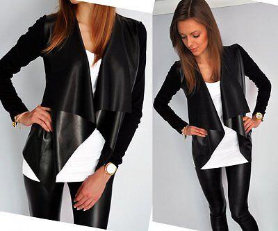 Elegant Imitation leather-Blazer Cardigan Cardigan Streetwear Sexy Look S M L