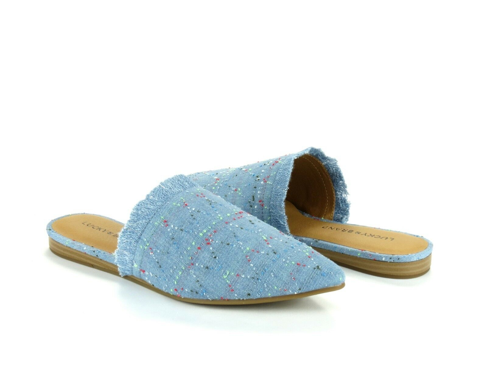 Lucky Brand Bapsee Light Blue Denim Multicolor Slide Mule Slip On Flat NEW 6.5
