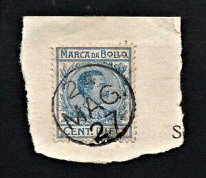 Marca-da-Bollo-Tassa-Fissa-Regno-di-Italia-Cent-10-Usato-per-Posta-Emergenza