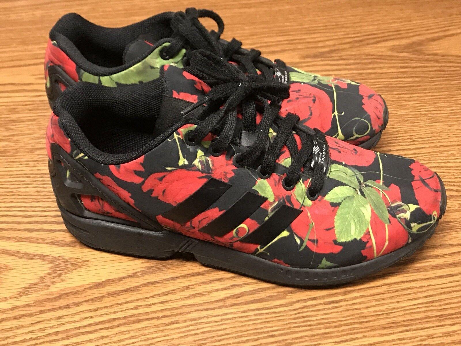 Adidas AQ4752 Originals ZX Flux Women's Black Red Roses Athletic Sneakers Sz 9.5