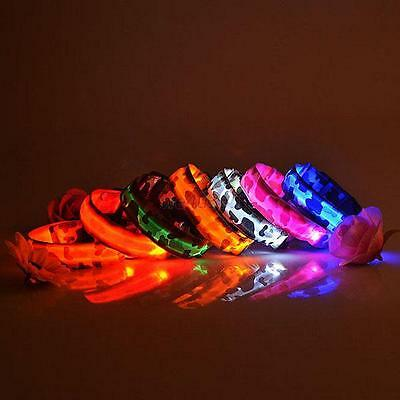 Colored LED Glow Collar Puppy Pets Dog Flashing Light Nylon Leash Harness W99