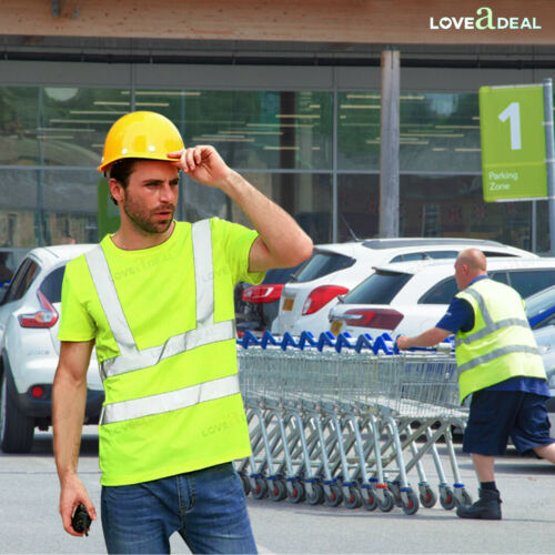 High Visibility Hi Viz Safety Work Wear Crew Neck Soft T-Shirt Top Reflective