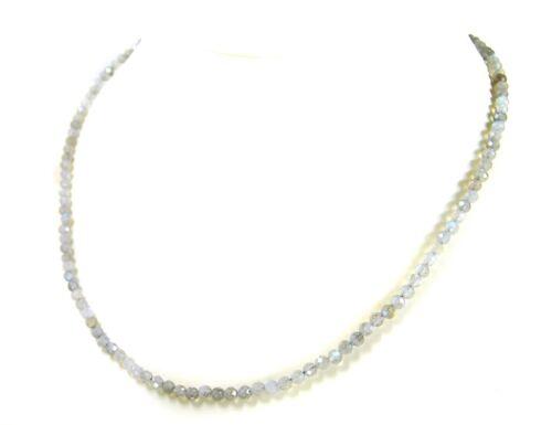Kette aus Labradorith in facettierter Kugelform Ø-3 mm 925er Silber Verschluss