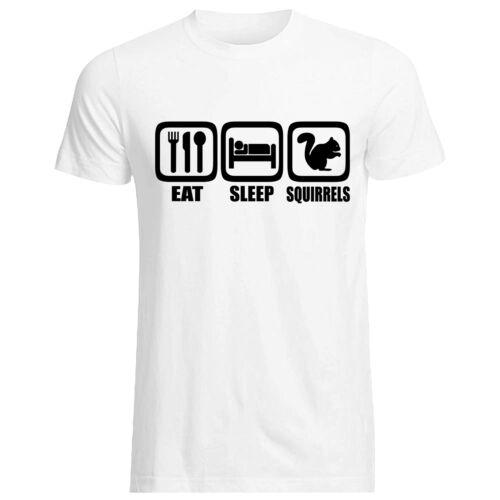 Eat Sleep écureuils-T-Shirt-Toutes Les Tailles Cols Gildan marque Cute Animal