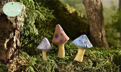 Set of 3 Glow-In-The-Dark Mushrooms Fairy Garden Mini