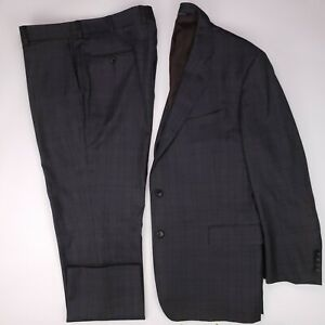 Brooks-Brothers-46R-Suit-Saxxon-Gray-Glen-Plaid-Flat-Front-Check-Checked-Regent