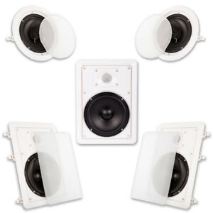 Acoustic-Audio-HT65-In-Wall-In-Ceiling-6-5-034-Home-Theater-Surround-5-Speaker-Set