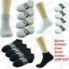 Black White Gray Mens Sports Athletic Crew Socks Cotton LOW CUT Size 9-11 10-13