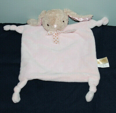 New Dan Dee Pink Bunny Rabbit Lovey Security Blanket Knotted Corners Rattle