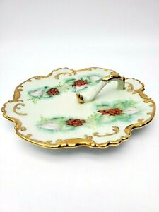 Porcelain hand painted gold leaf serving NUT DISH platter gilded cherries SIGNED
