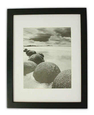 Set of 6 11x14 Black Photo Wood Frame with White Mat for 8x10 Picture