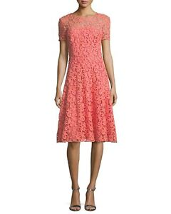 8384673056cd NEW St. John Embroidered Lace Fit and Flare Dress in Coral - Size 8 ...