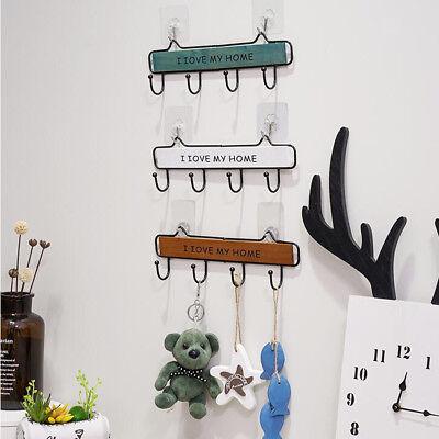 Wooden Metal Wall Mount Rack Hanger Storage Hook for Towel Clothes Coat Hat
