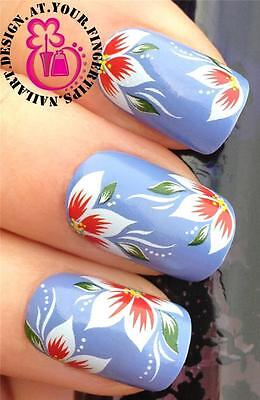 NAIL ART WRAPS WATER TRANSFERS/STICKERS DECALS RED & WHITE HIBISCUS FLOWERS #263