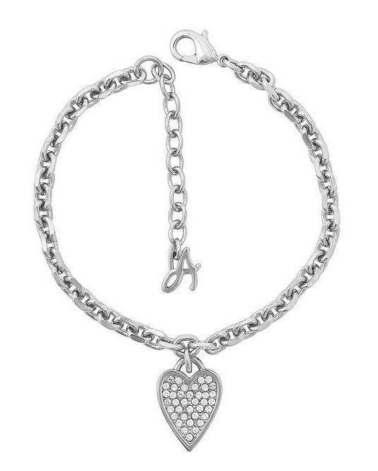 Adore Swarovski Signature Pointed Heart Charm Bracelet Crystal Rhodium Plated