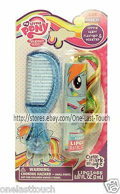 2pc MY LITTLE PONY Flavored Lip Gloss Wand w/Hair+Comb Set COTTON CANDY Blue 2/2