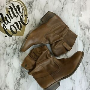 STEVE-MADDEN-Womens-8-5-Cognac-Leather-Slouchy-Ankle-Western-Cowboy-Boots