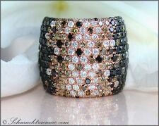 NOBELKLASSE: Schwarz-Weiß-Braun Brillanten Ring  4.44 cts.  RG585 9.100,--