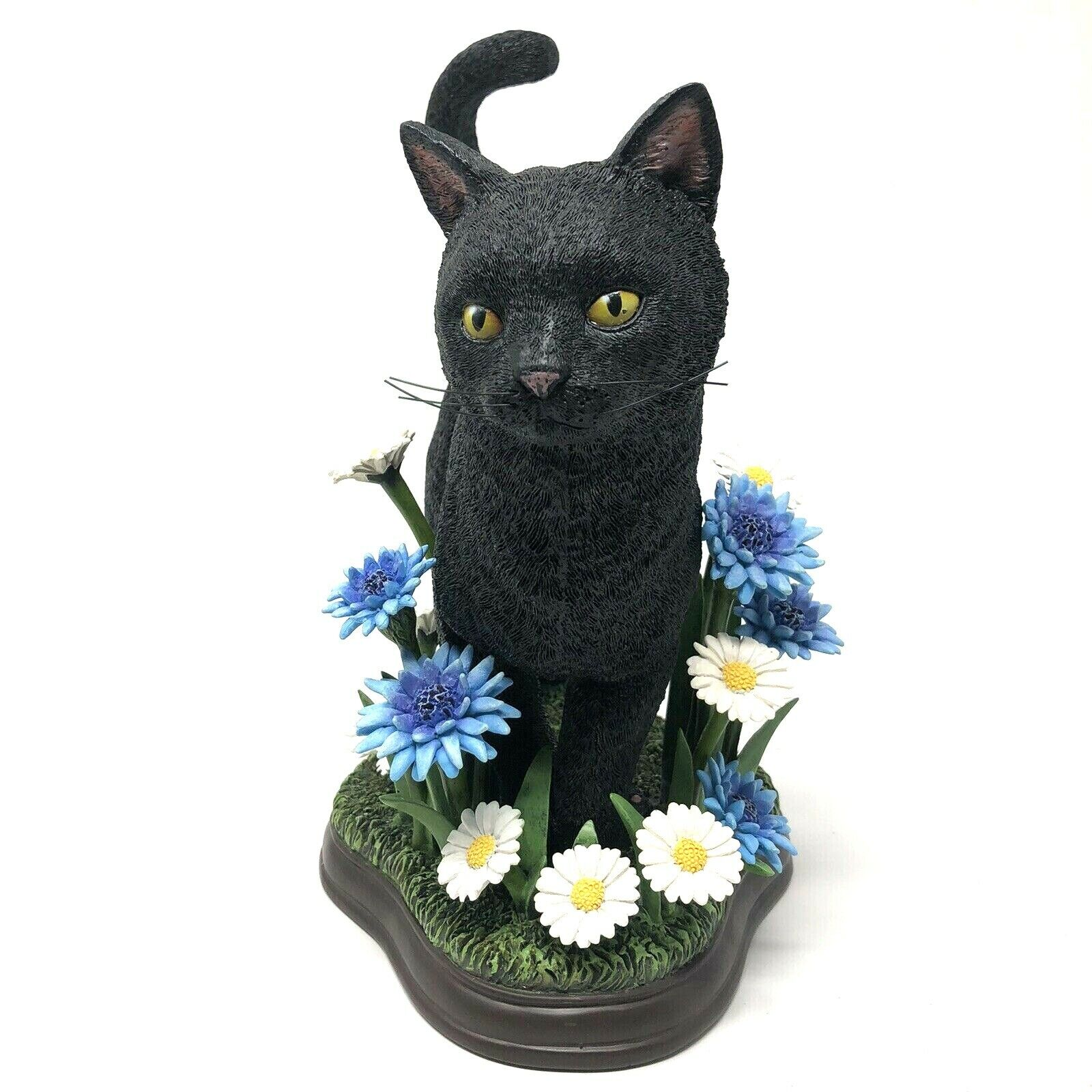 Danbury Mint In The Meadow Simon Mendez Black Cat Flowers Sculpture Figurine
