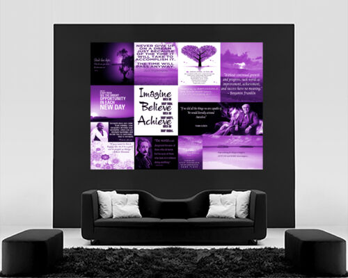 Motivation Quotes Purple Canvas Wall Art  Picture 100/% cotton All sizes
