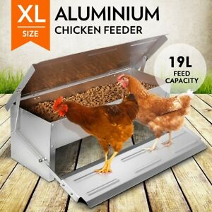 19L-Chicken-Feeder-Chook-Poultry-Aluminium-Automatic-Treadle-Self-Opening-Coop