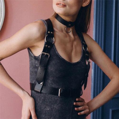 Women Leather Harness Bra Belt Wide BDSM Black Body Bondage Shoulder Lingerie
