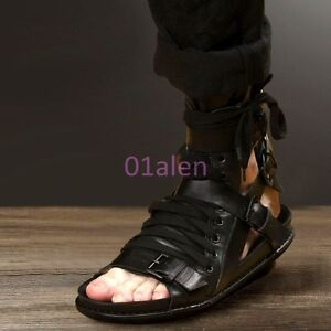 3a59247d975 New Mens Leather Lace Up Boot Buckle Knight Roma Gladiator Sandals ...