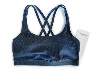 Lululemon-Energy-Bra-Size-6-8-12-Linear-Flux-Stripe-Blue-Grey-Black-NWT