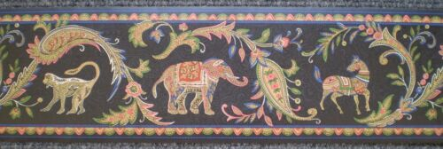 Bright Jacobean Paisley Flowers with Animals on Black by Brewster 87B62216