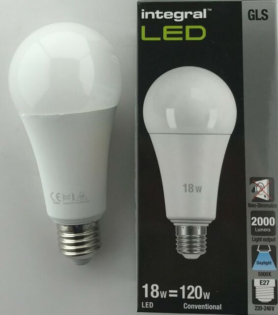 18W=120W DAYLIGHT 5000K 2000lm B22 Non-Dimmable Frosted Lamp INTEGRAL LED GLS