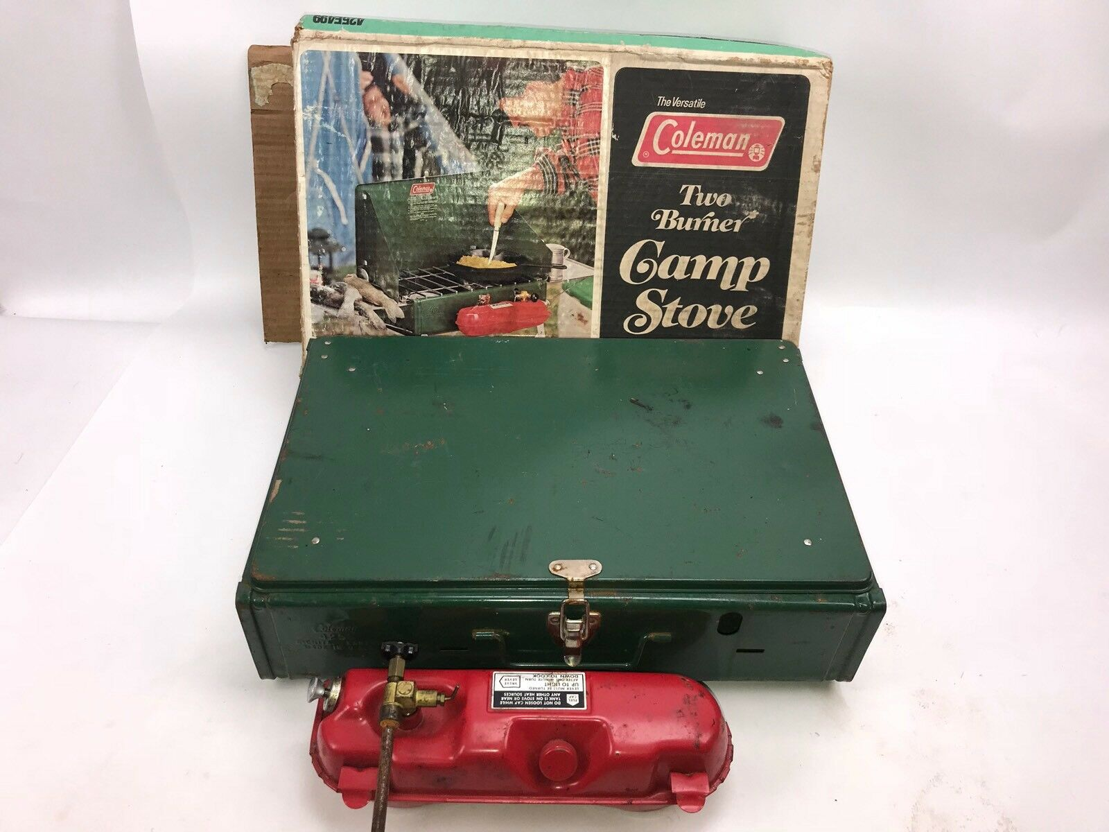 VINTAGE 1978 COLEMAN 425E CAMP STOVE with BOX TWO BURNER