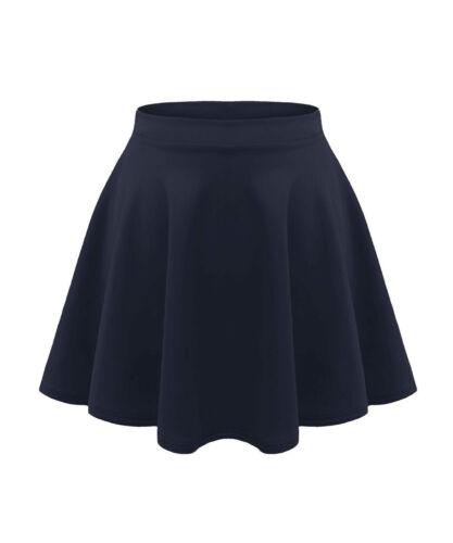 Womens mini skater skirt stretch short//viscose flared plain ladies party for*PnT