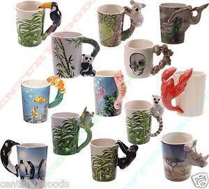VARIOUS-NOVELTY-SHAPED-HANDLE-ANIMAL-3D-CERAMIC-Coffee-Tea-Mug-Ideal-Present