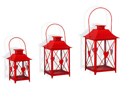 Lantern with Heart Set of 3 Garden Decoration Candle Tealight Holder Red