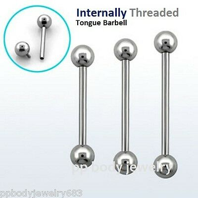 """10G-00G 5//8/"""" 3//4/""""Titanium Anodized Steel Internally Threaded Tongue Ring Barbell"""