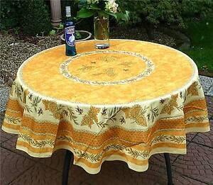 tischdecke provence 180 cm rund gelb aus frankreich pflegeleicht und b gelfrei ebay. Black Bedroom Furniture Sets. Home Design Ideas