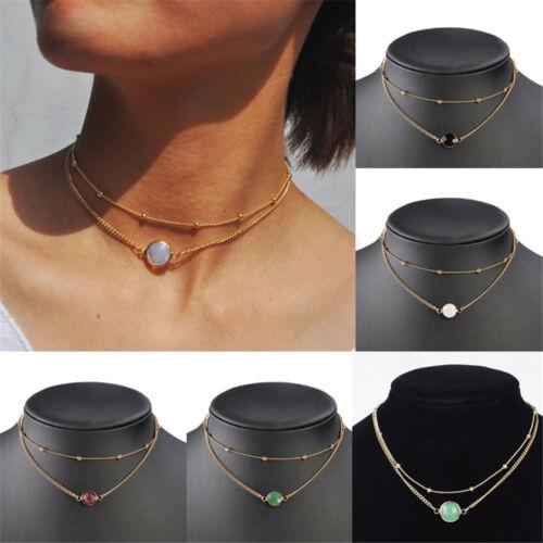 2 Layers Crystal Opal Natural Stone Pendant Necklace Choker Charm Women Jewelry