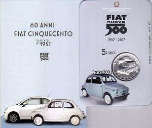 NEW-5-EURO-Argento-FDC-ITALIA-2017-60-anniversario-nascita-FIAT-500-NEW