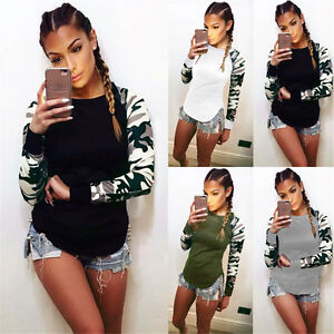 UK-6-22-Womens-Casual-Camouflage-Sleeve-Tops-Shirt-Ladies-Loose-T-shirt-Blouse