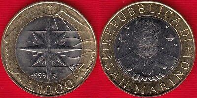 "San Marino 1000 lire 1999 km#395 /""Wind Rose/"" BiMetallic UNC"