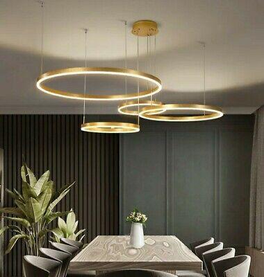 LUXURY ITALIAN MODERN LED RING LIGHT GOLD BROWN CHANDELIER ...