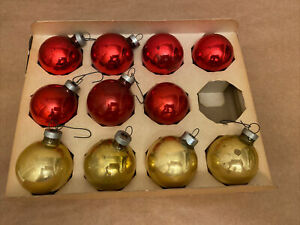LOT-of-11-Vintage-NOELLE-MERCURY-1-3-4-GOLD-RED-Glass-Christmas-Tree-Ornaments