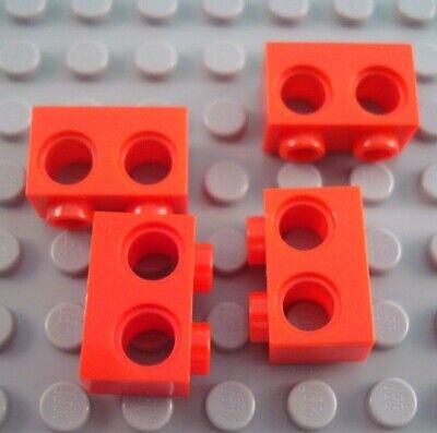 New LEGO Lot of 4 Red 1x2 Technic Bricks with 2 Holes