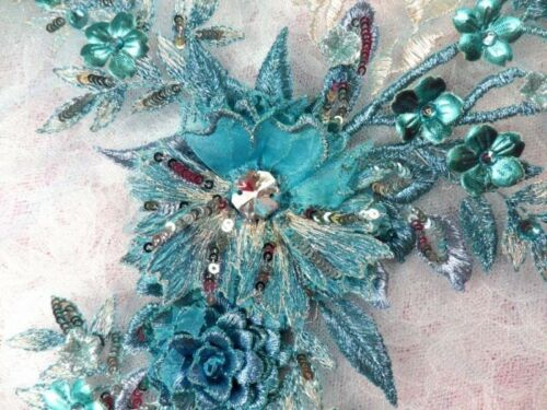 """Embroidered 3D Applique Turquoise Floral Sequin Ballet Patch 14/"""" DH70"""
