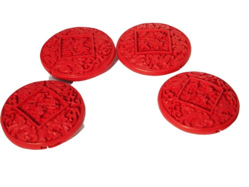 54x54mm Chinois lackperle vermillon rouge #ed61p ronds cinnabar