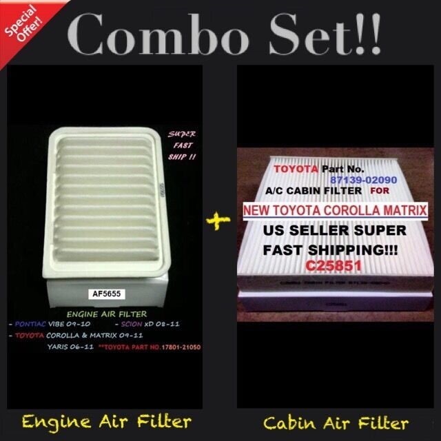 Engine/&Cabin Air Filter AF5655 C25851 For 09-18 Corolla Vibe xD Yaris Matrix