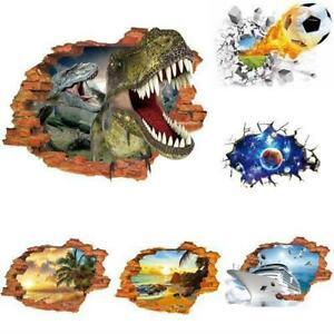 3D-gebrochen-Fussball-Dinosaurier-Boden-Decke-abnehmbare-R3G8-Vinyl-Wandaufk-F0I4